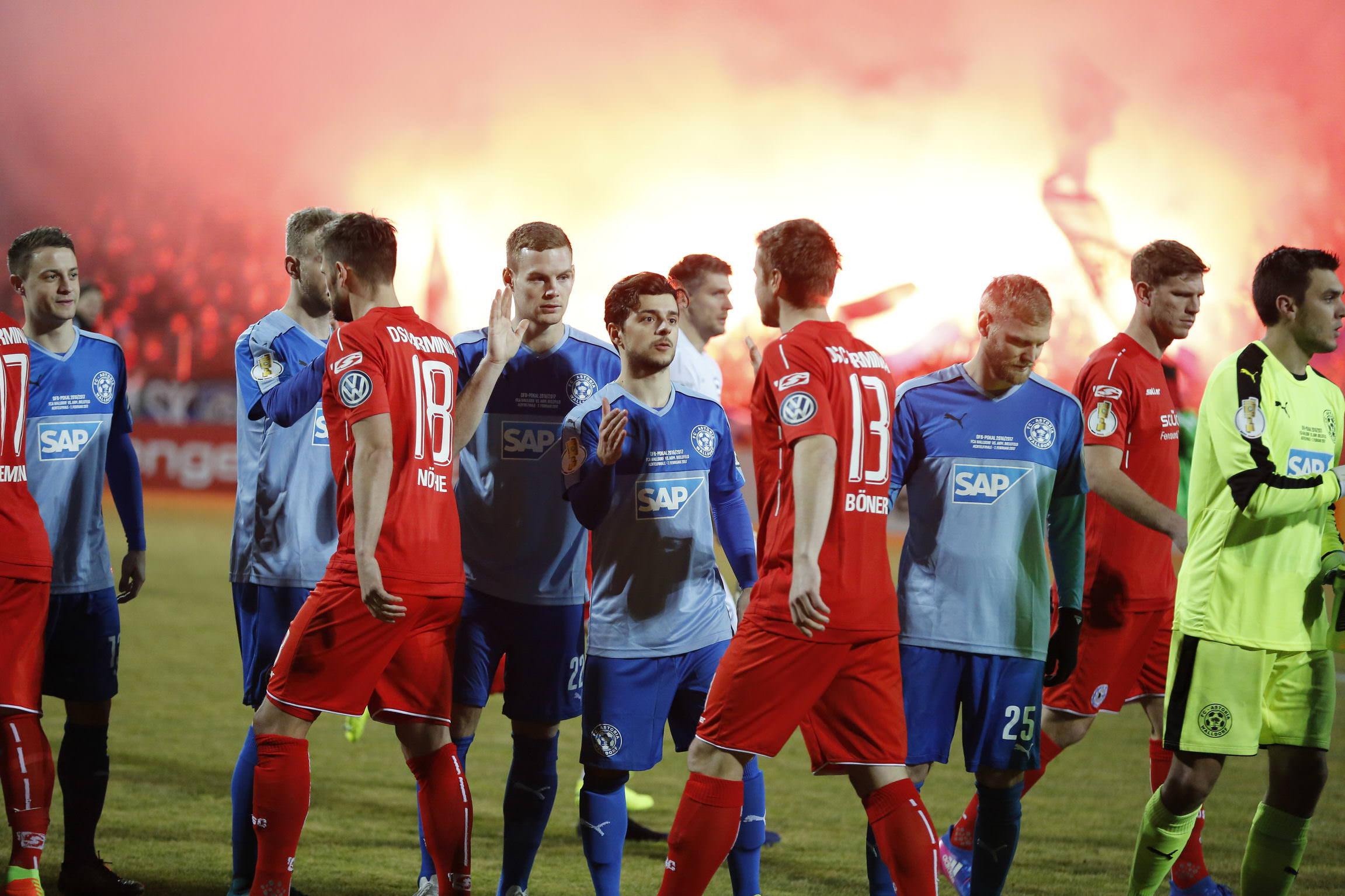 Fussball. DFB-Pokal, 2016-2017, 3. Runde. FC Astoria Walldorf - Arminia Bielefeld. 07.02.2017 -