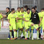 Fussball. Regionalliga Suedwest. Saison 2016-2017. 28. Spieltag. FC Astoria Walldorf - FC Noettingen. Noettinger Jubel. 11.03.2017 - Jan A. Pfeifer - 01726290959