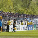 Fussball. Regionalliga Suedwest. Saison 2016-2017. 32. Spieltag. FC Astoria Walldorf - SV Waldhof Mannheim. SVW Fans. 08.04.2017 - Jan A. Pfeifer - 01726290959