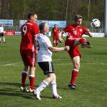 Fussball. Bayern Allstars - SAP Digital Heros.v.l. Alexander Zickler (Bayern Allstars), Andreeas Robbe (SAP Digital Heros) und Joerg Butt (Bayern Allstars). 05.04.2017 - Jan A. Pfeifer - 01726290959